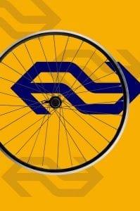 fietswiel met NS-logo