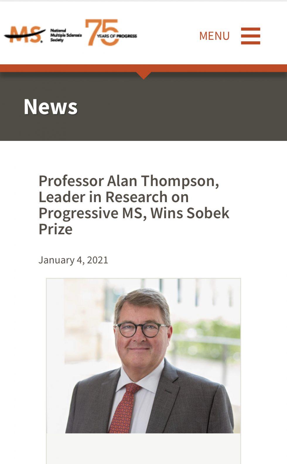 Prof Thompson Krijgt Sobek Prijs