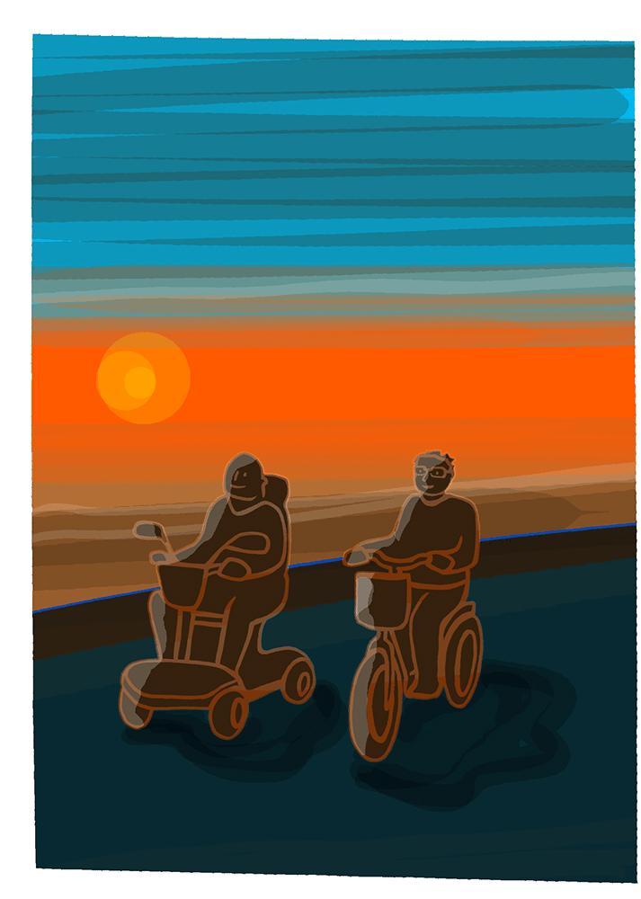 Garri en Annegriet Veldman op de scoot en fiets door Delfzijl