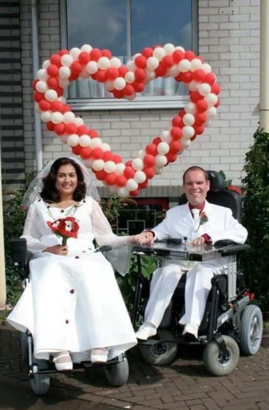 Jennifer en Michael op hun trouwdag