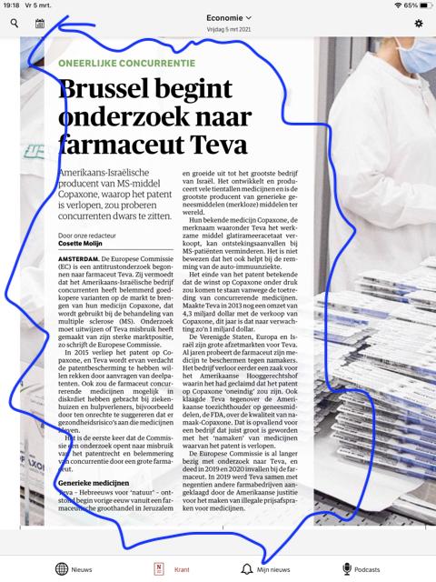 NRC Handelsblad - Onderzoek fabrikant TEVA