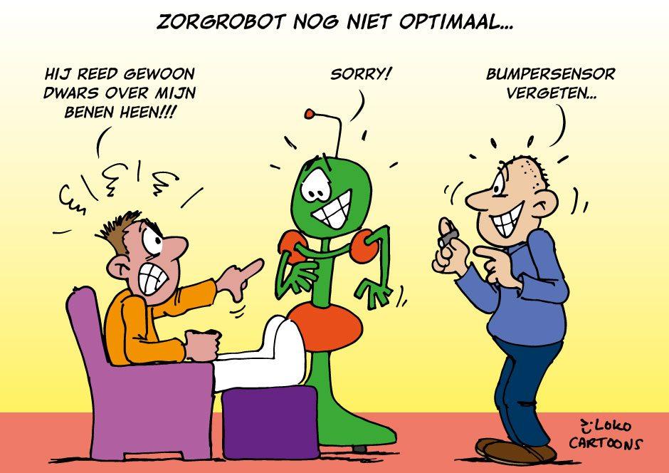zorgrobot, e-health. Lokocartoon